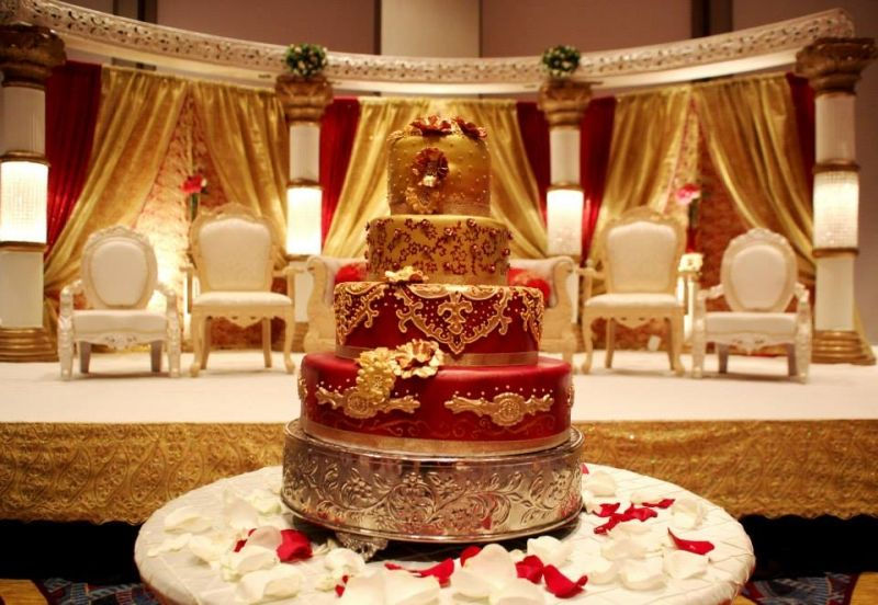 Red And Gold Traditional Indian Wedding Cake By Artisan Cakes By