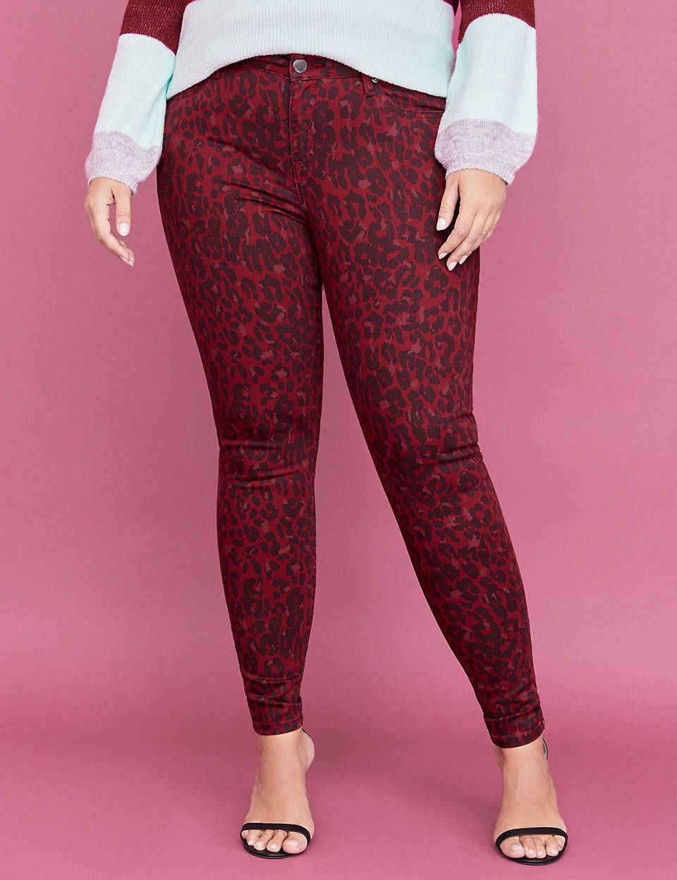 b5a76e76596c6 Super Stretch Skinny Jean - Red Leopard Print   Lane Bryant ...