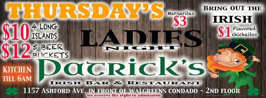 Ladies Night Patrick S Irish Bar Restaurant Condado Sondeaquipr Ladiesnight Patricksirishbar Condado Sanjuan Beer Bucket Restaurant Bar Restaurant