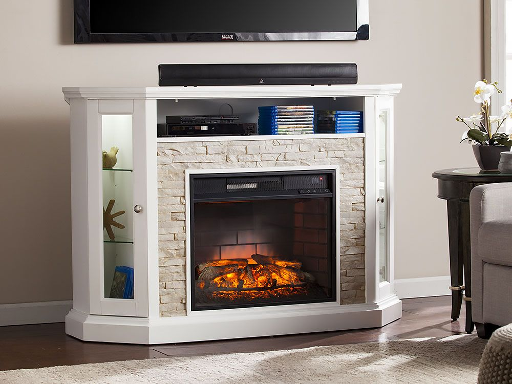 Redden Wall Corner Infrared Electric Fireplace Tv Stand In White