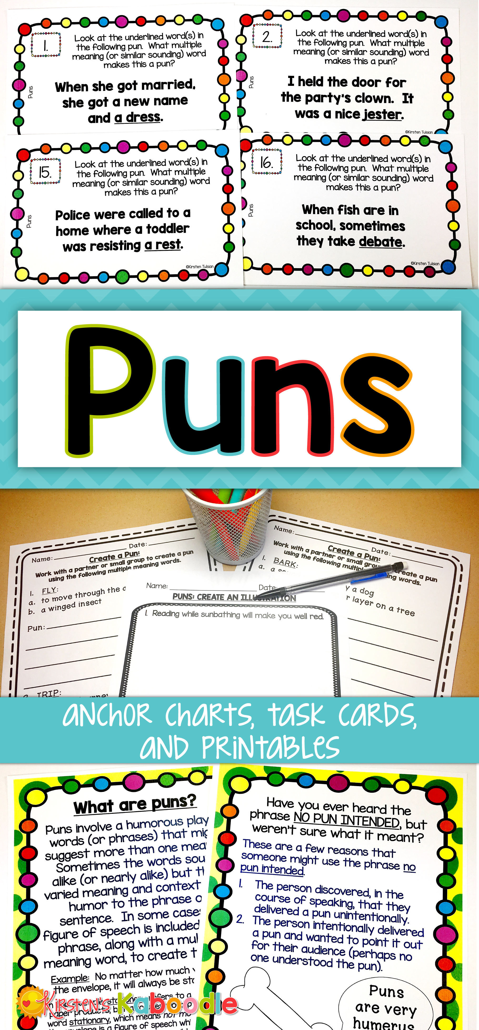 Puns Activities Language Lessons Anchor Charts And Language