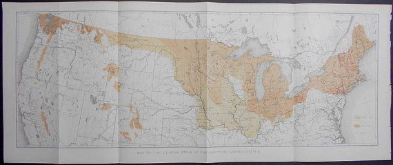 Map Glacial Striae Of Estern United States Great Lakes - 1888 us map