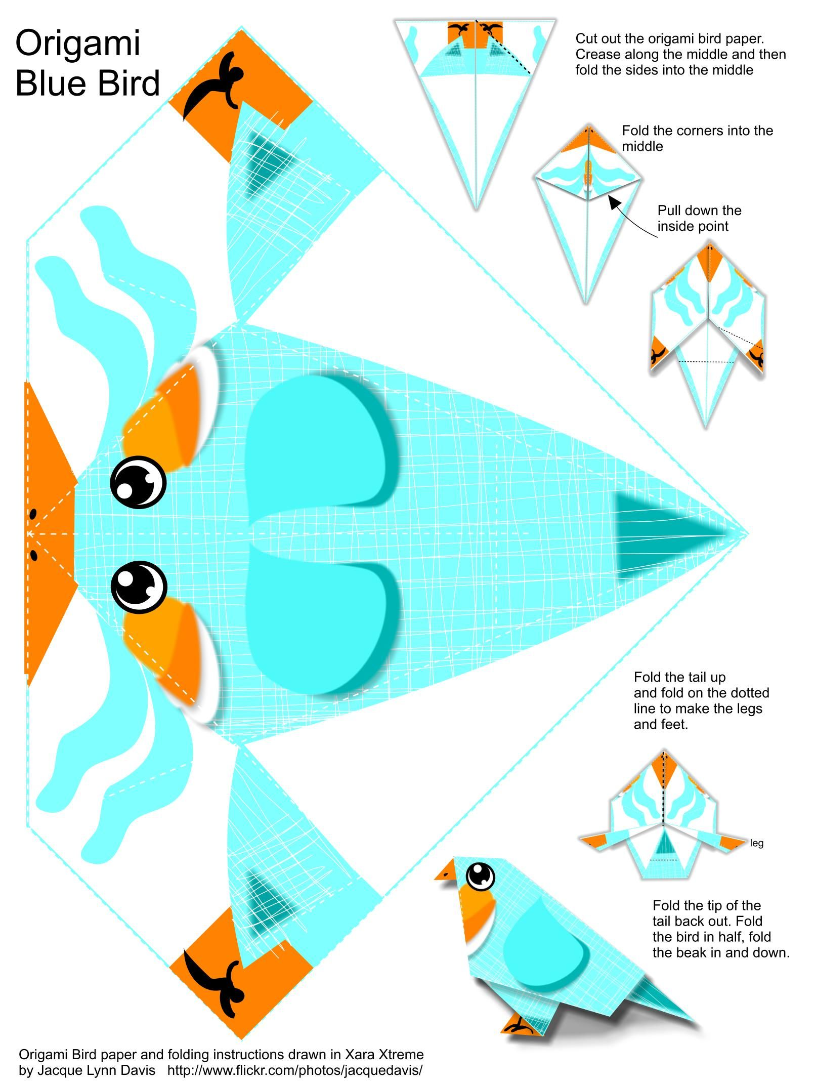 All sizes origami blue bird instructions and paper flickr free printable origami blue bird instructions and paper by davisjacque via jeuxipadfo Choice Image