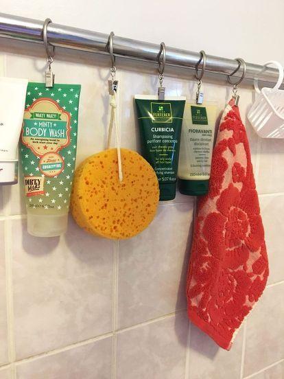 tension rod shower storage, bathroom ideas, storage ideas
