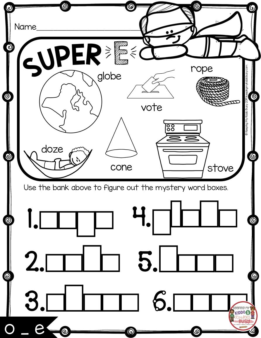 Long Vowels Super E Phonics Unit Freebie Keeping My Kiddo Busy Phonics Kindergarten Phonics Vowel Activities [ 1152 x 892 Pixel ]