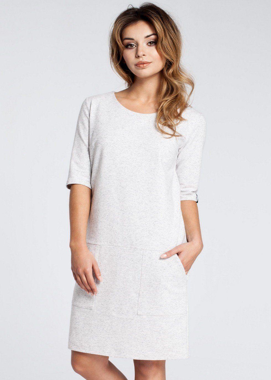 Shift Dress With Pockets Ivory In 2020 Midi Shift Dress Shift Dress Dresses