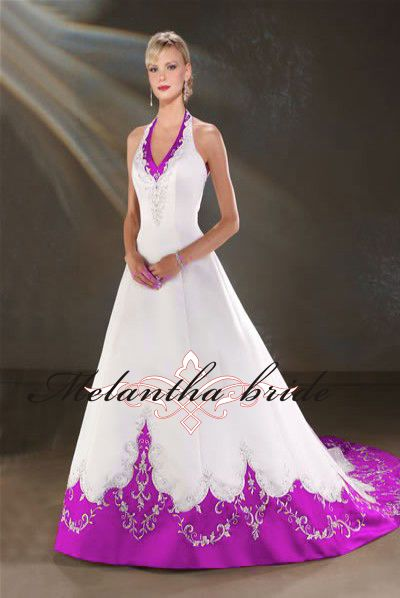 Purple and white wedding dresses satin halter for Wedding dress with purple embroidery