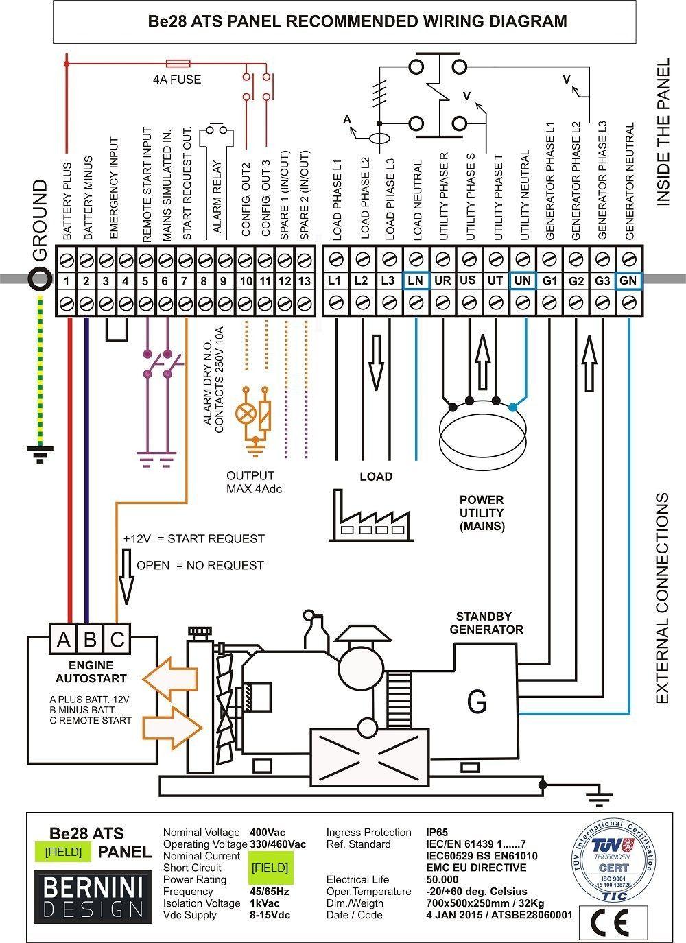 Generator Automatic Transfer Switch Wiring Diagram In 2020 Transfer Switch Generator Transfer Switch Generator House