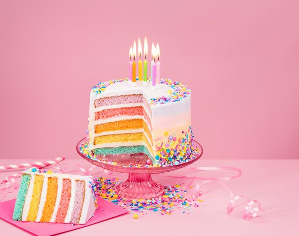 Birthday Cake With Candles And Pink Background