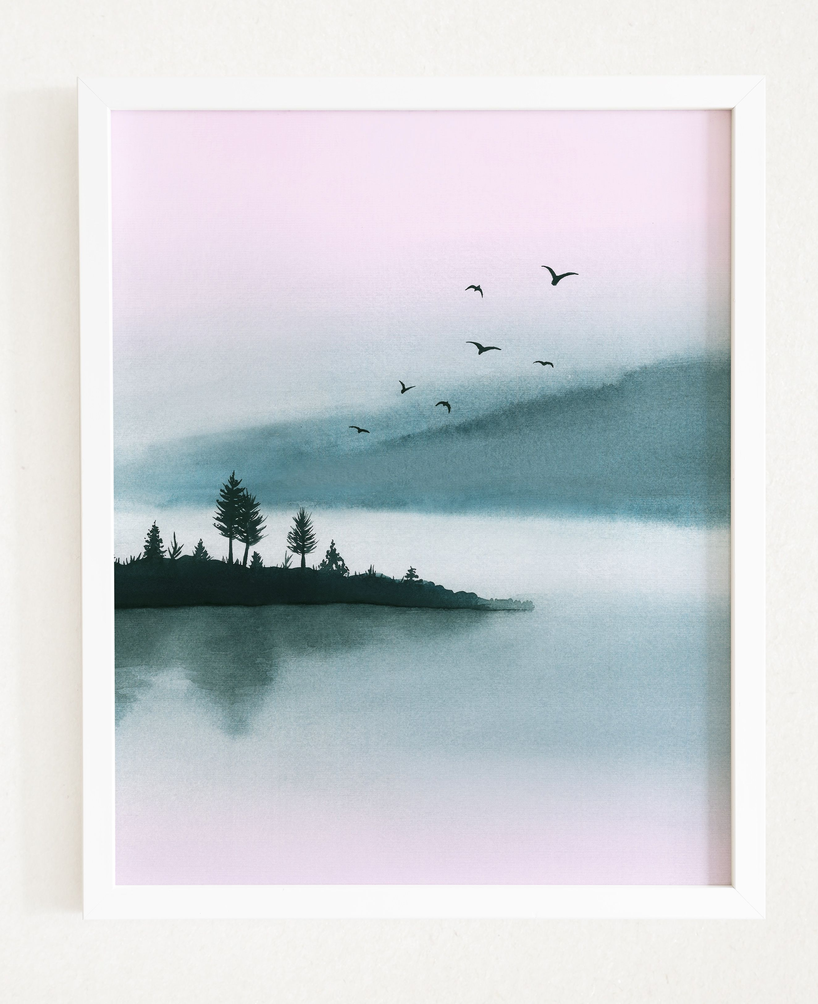 Watercolor Printable Art Landscape Modern Print Lake Large Wall