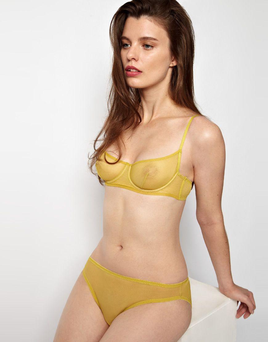 5e9333e61 Kallisti by Marios Schwab for ASOS Inc Bardot Mesh Underwired Mustard Yellow  Bra