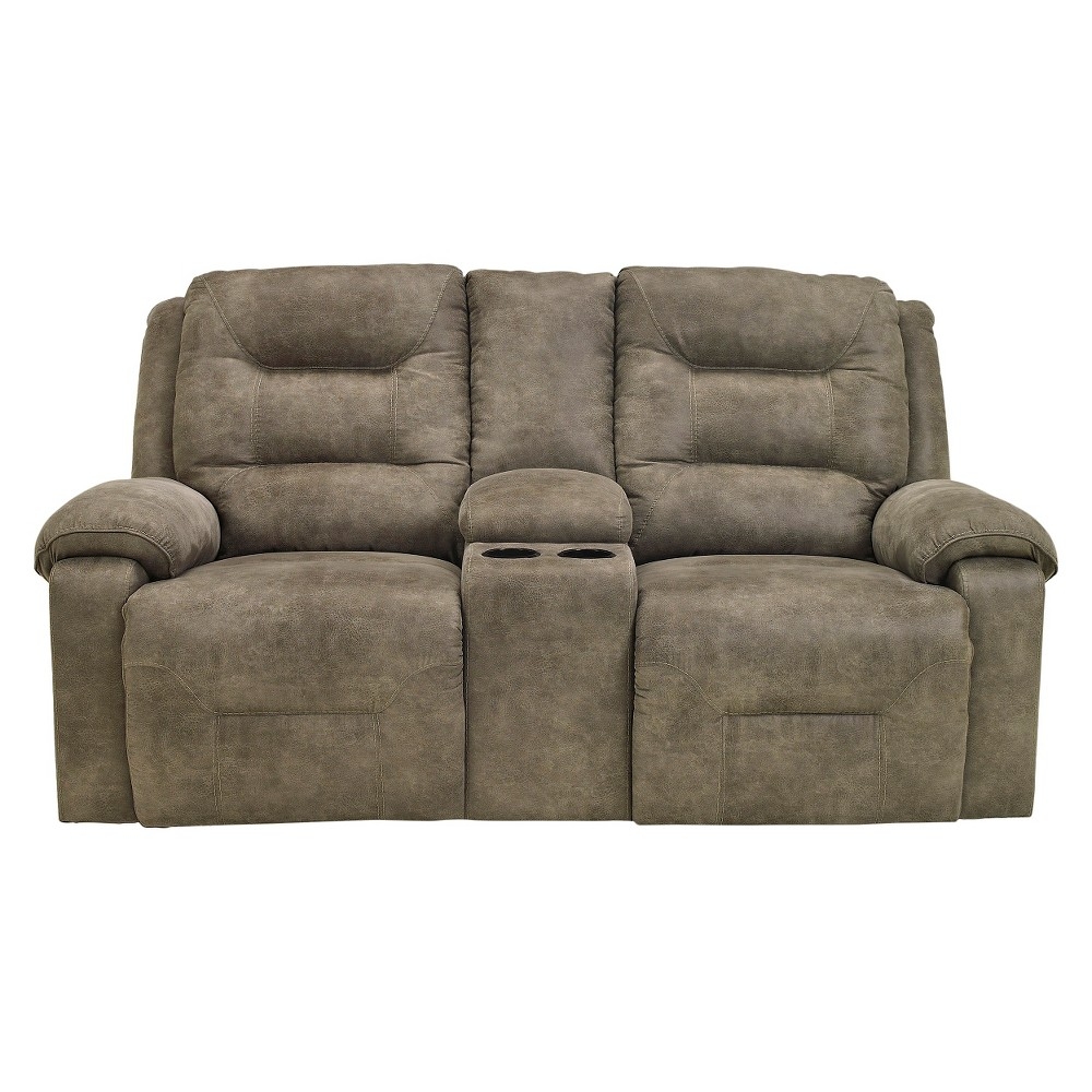 Rotation Double Rec Loveseat with Console Smoke (Grey) - Signature Design by Ashley