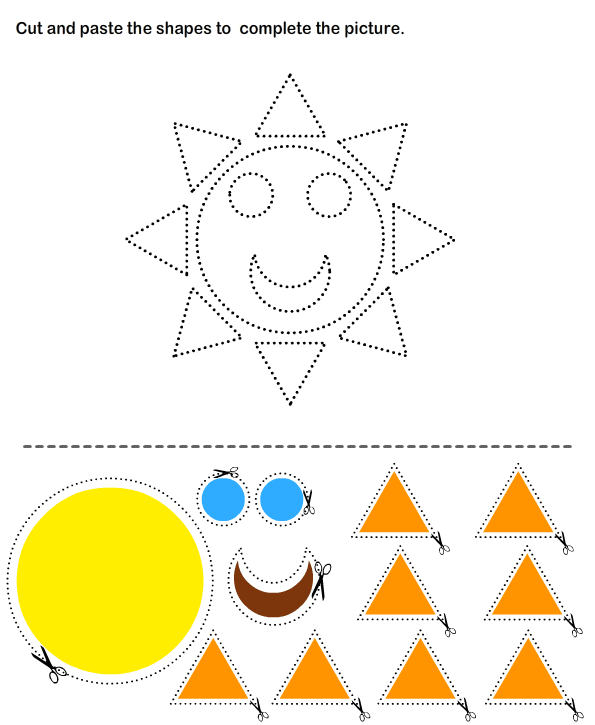 Cut and Paste Sun Arts Crafts for Kids – Cut and Paste Worksheets for Preschoolers