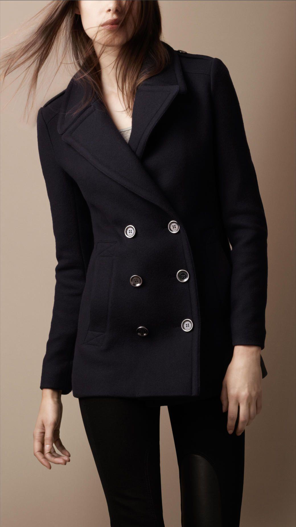 d971bc99c1b5 Burberry Brit Classic Wool Pea Coat in Blue (black)