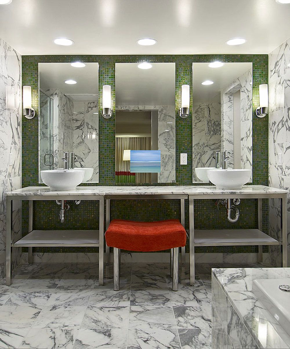 The Art Gallery Loft Bathroom Mirror TV by Electric Mirror with a hidden LED HDTV es in standard sizes and can be upgraded with many custom options