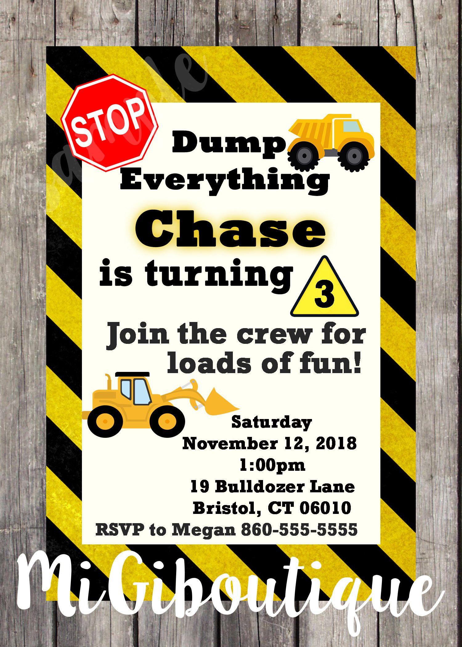 Construction Dump Trucks Personalized Birthday Invitation Girls Boys ...
