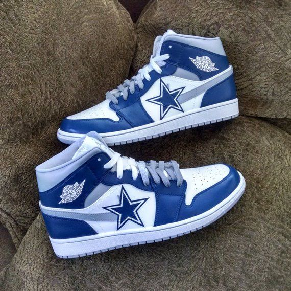 080e9cecfb65b Cowboys Custom Jordan 1 Mid in 2019 | Products | Custom jordans ...