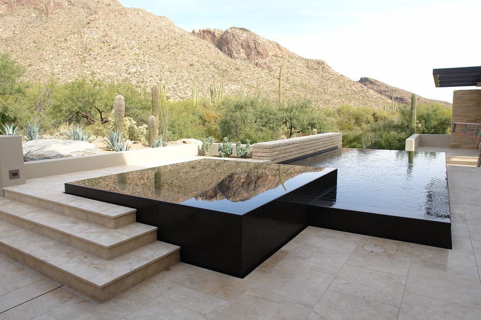 Infinity Edge Pool Contemporary With Vanishing Edge
