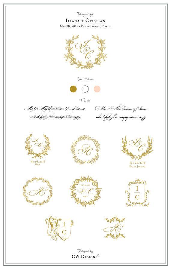Custom Crest Monogram Wedding Logo Stationary