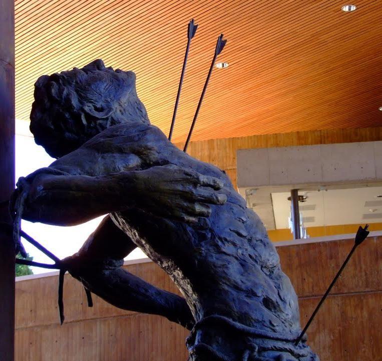 Detail of Bronze of San Sebastian, the Roman martyr and patron of the city of  León, Guanajuato, México. Sculptor-Ricardo Motilla