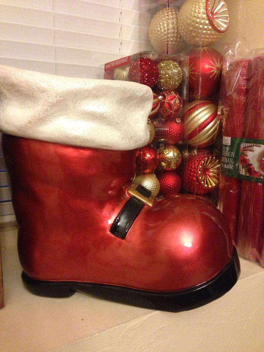 Santa Boot Costco Christmas Santa Boots Chrismas Decor