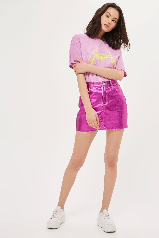 0b079144719a MOTO Metallic Denim Mini Skirt - New In Fashion - New In - Topshop USA