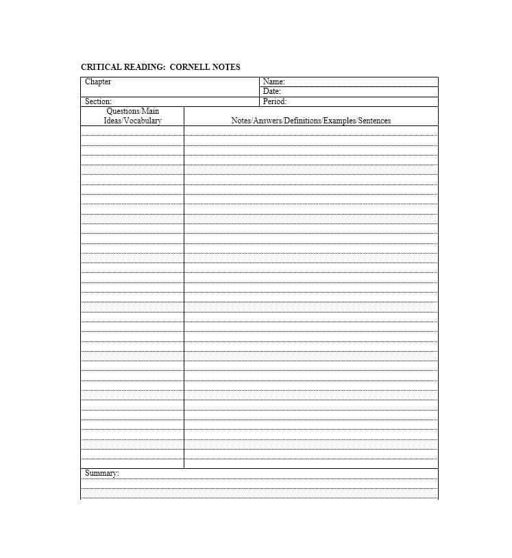 Cornell Method Template - Cornell Notes Template 51+ Free Word, PDF