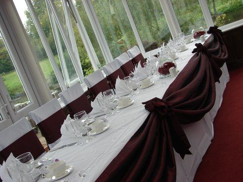 Burgundy Chair Covers Wedding And A Half Swivel Rocker Recliner Swag Having Use To Make The Room Pop