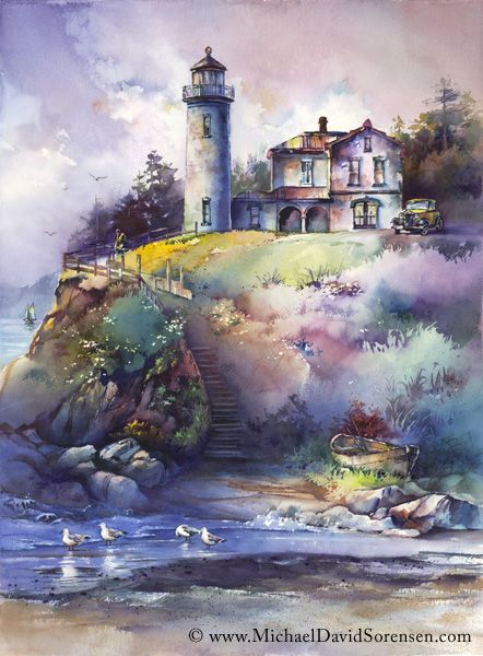 The Lightkeeper Watercolor By Michael David Sorensen More Info