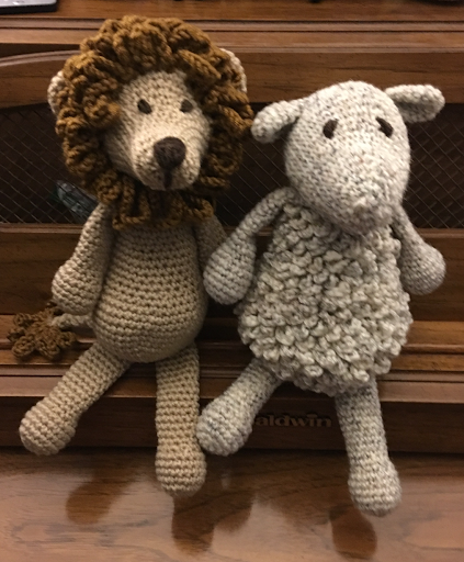 This is Simon the sheep and Rufus the lion. They were made from the Edwards Menagerie book. My daughter's teachers were looking for some ani...