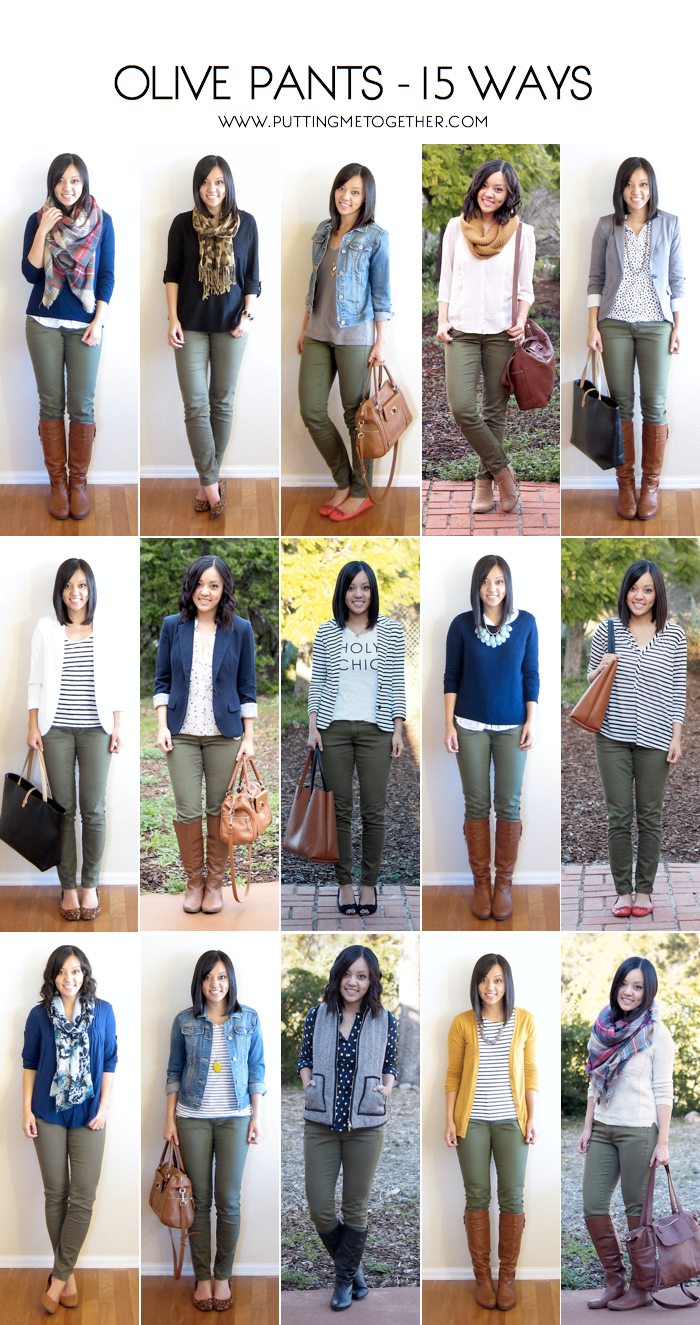 f24ba55c9627c7 How to Wear Olive Skinny Jeans - 15 Ways | One Piece Many Ways ...