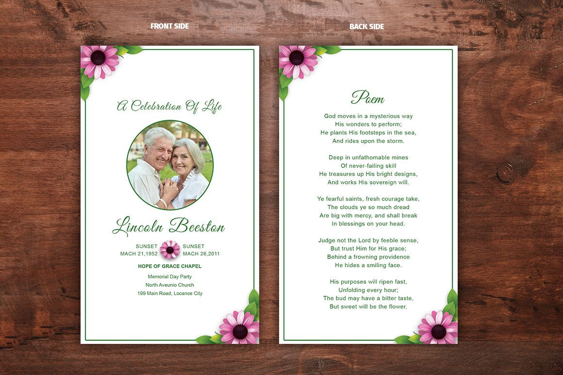 Funeral Prayer Card Template Editable MS Word Photoshop Template - Funeral prayer cards templates