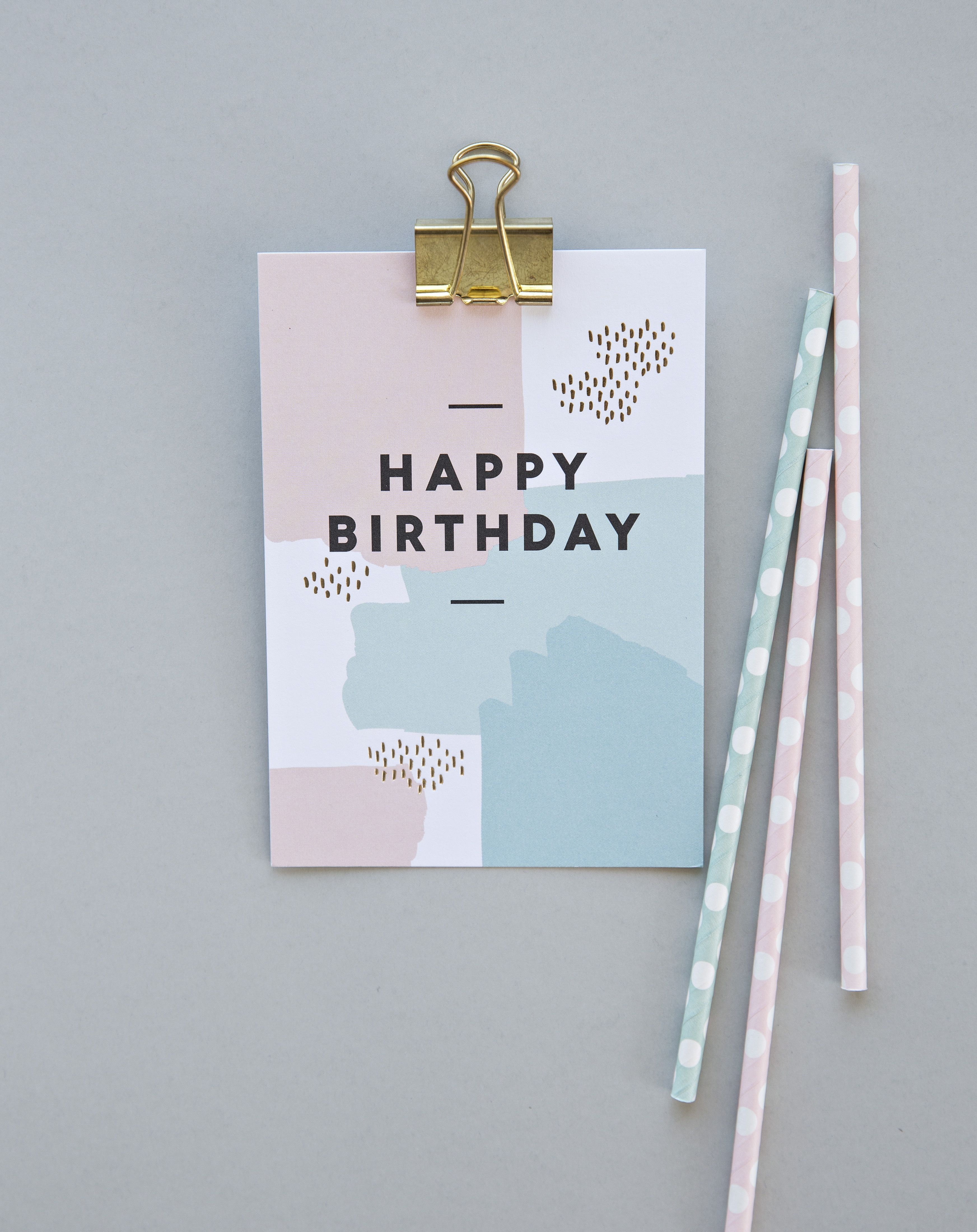 Happy Birthday Paint Splatters Postcard Timi Of Sweden Happy Birthday Card Design Happy Birthday Design Birthday Cards