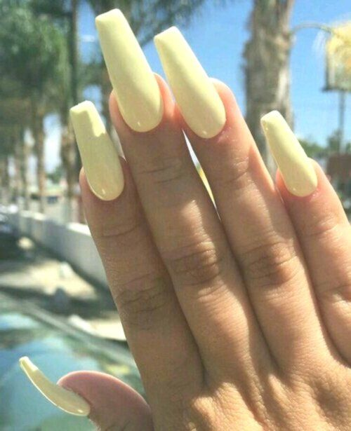 Light Yellow Acrylic Nails Buy This Collection And Receive A Free Full Size Bottle Of Holo Back Girl While Supplie Yellow Nails Yellow Nail Art Acrylic Nails