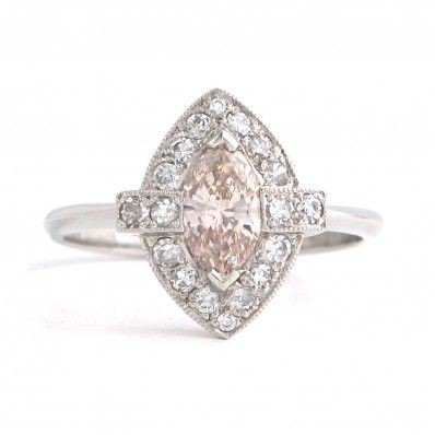 James Ness & Son Fine Antique Jewellers | Online Antique & Vintage Shop | Rings | Diamond Rings | Certified Natural Pinkish Brown Marquise Diamond Ring