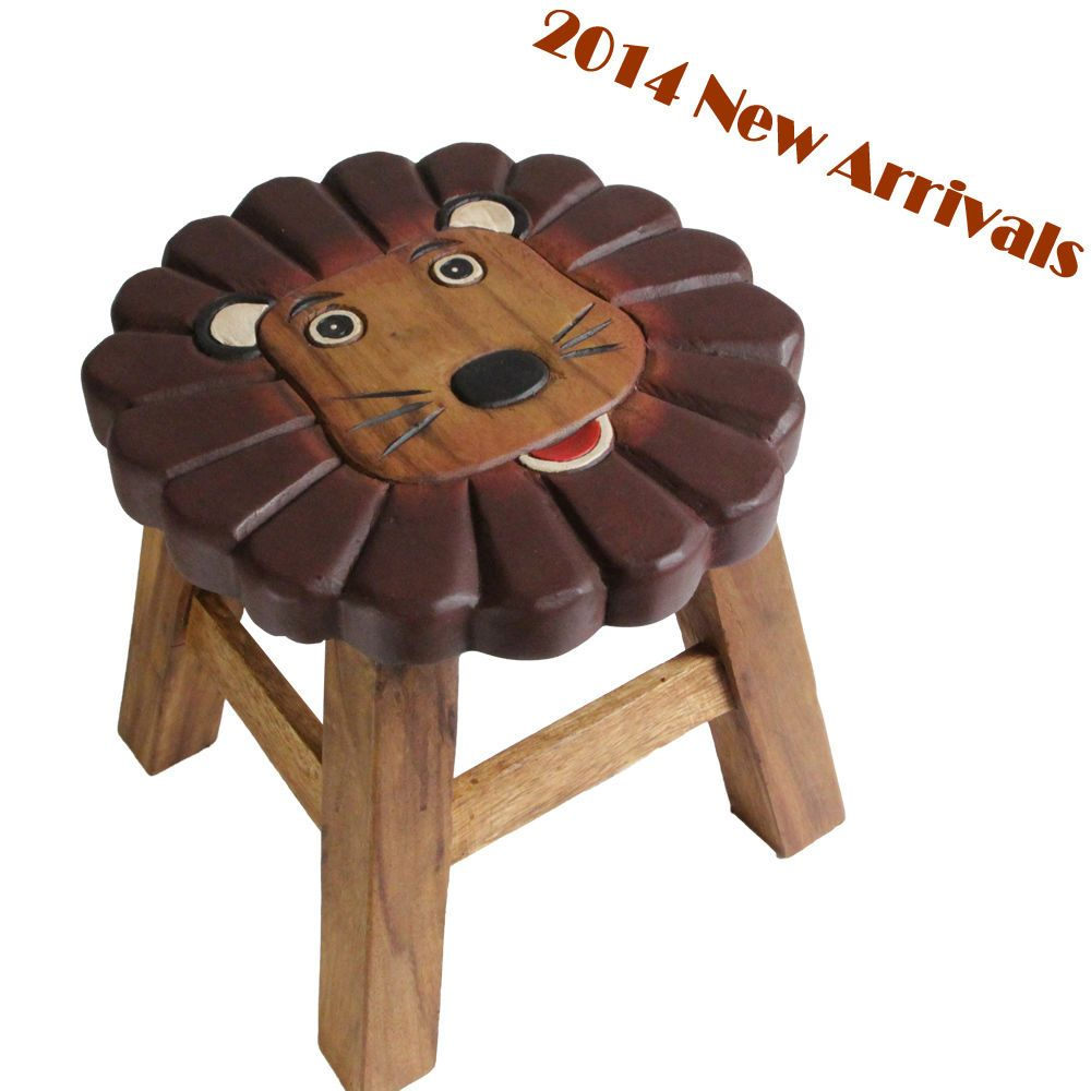 Mango Trees Kids Wooden Stool Lion Design Children