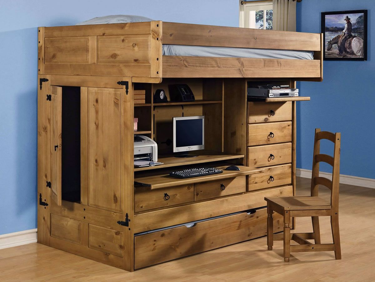 Rustic Loft Bed with Desk and Storage Ideas : How to Build