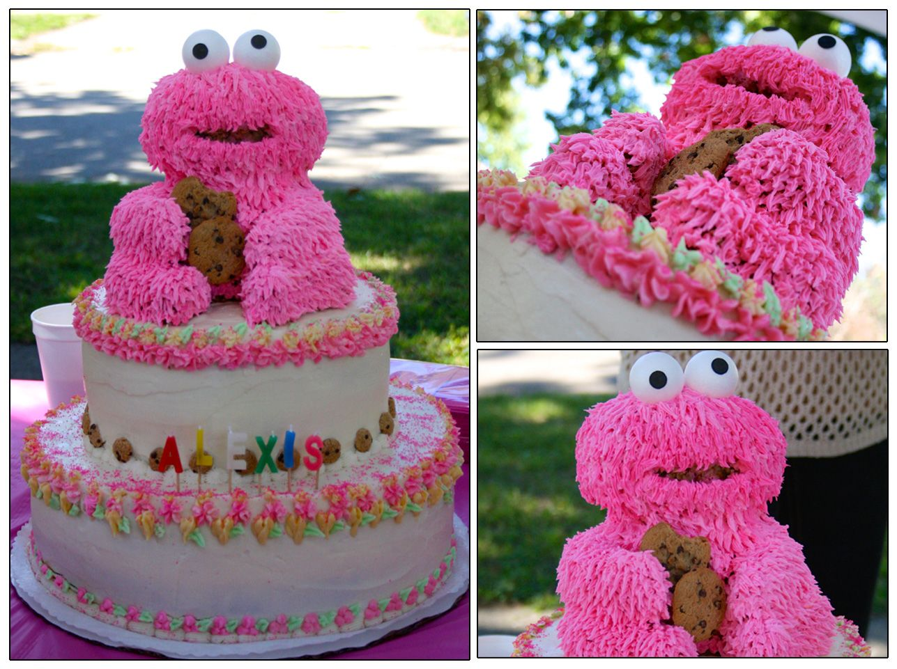 pink cookie monster birthday cake made out of rice krispie treats on birthday cake made from cookies