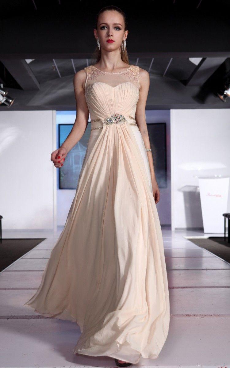 royal aline floorlength strapless champagne chiffon dress