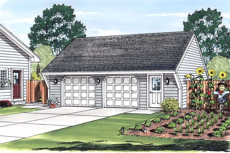 Elevation of Cape Cod   Saltbox   Traditional   Garage Plan 30021