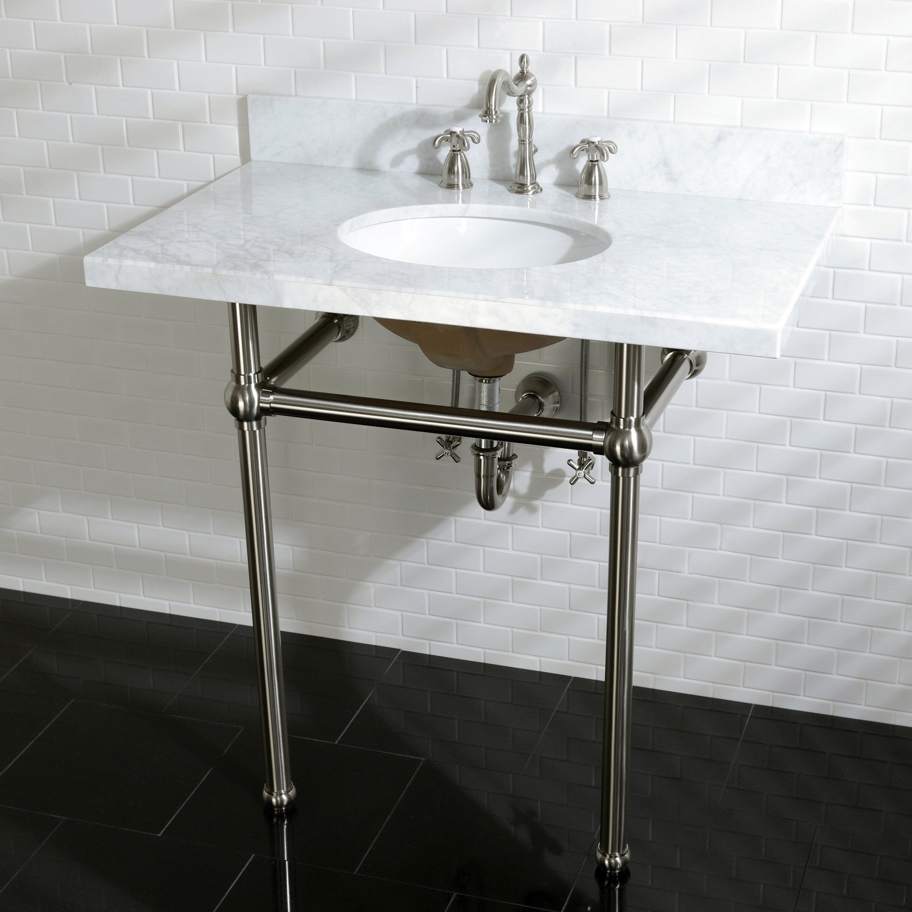 Vintage Carrara Marble 36 Inch Console Sink With Metal Stand Carrara Marble Oil Rubbed Bronze Bronze Finish Brown Kingston Brass Console Sink Sink Bathroom Furniture