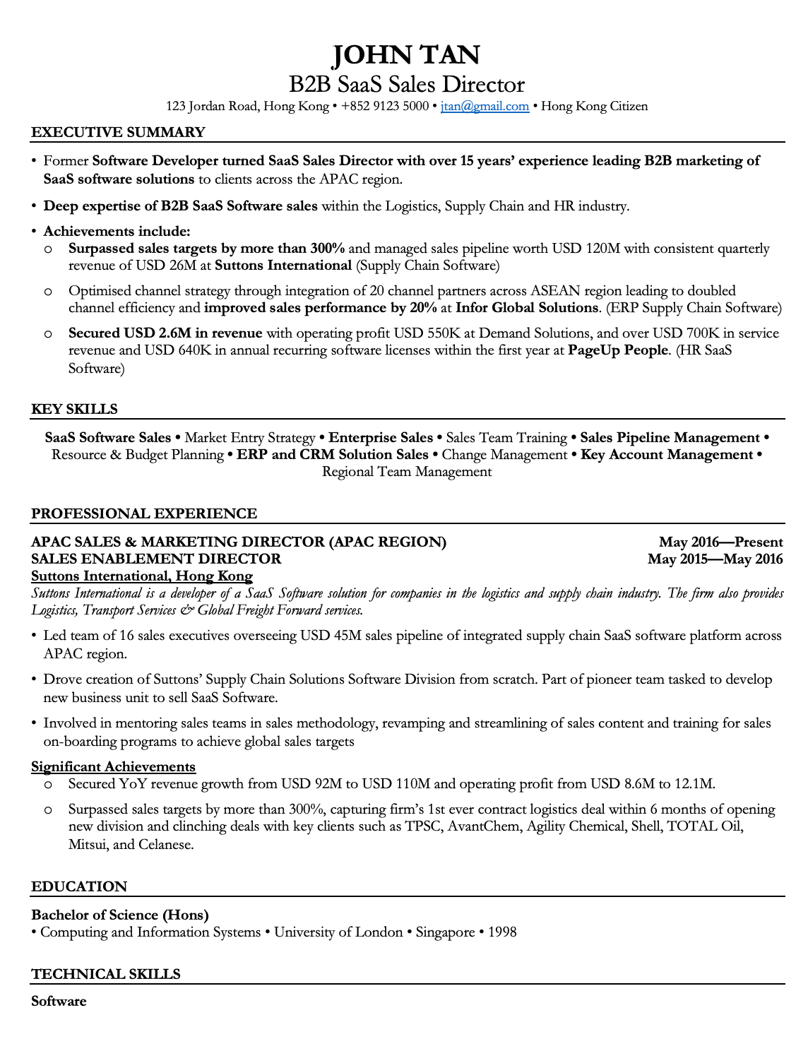 Timeless Black CV Template Resume Template Hong Kong in