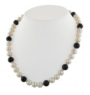 Honora Black Onyx & White Pearl Necklace