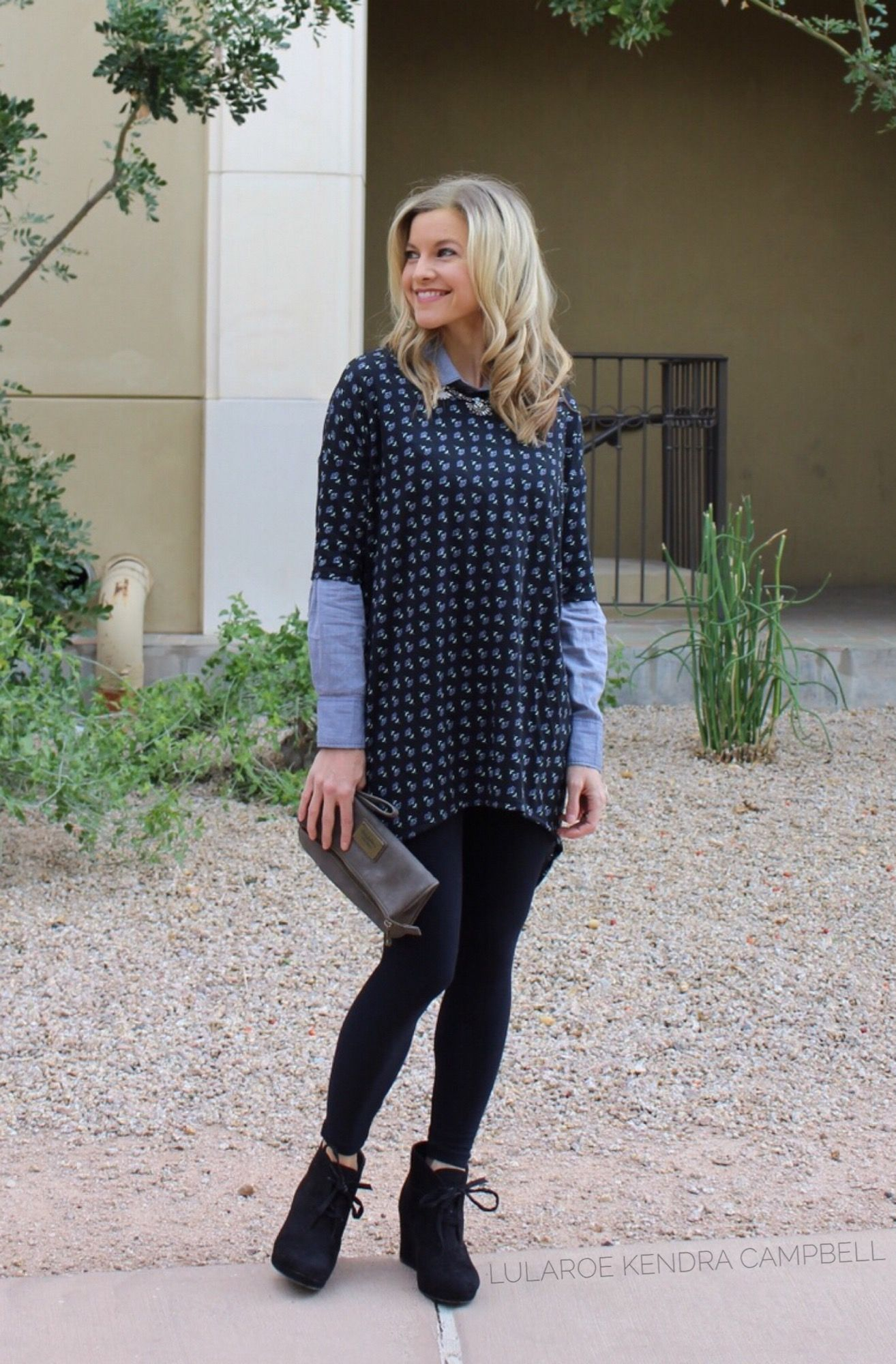 9a0cadcae1c45 I love adding a collared shirt under the LuLaRoe Irma tunic to create a new  look! Perfect for cooler weather.  chambray  lularoe Click for more style  ...