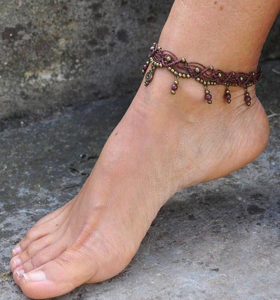 tribal handmade charm ankle bracelet Gipsy Macrame ethnic