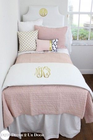 Best Blush Pink White A Pop Of Black Designer Dorm Bedding 640 x 480