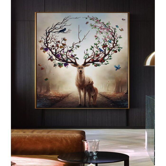 Robie Horned Deer Abstract Forest Tree Textile Texture