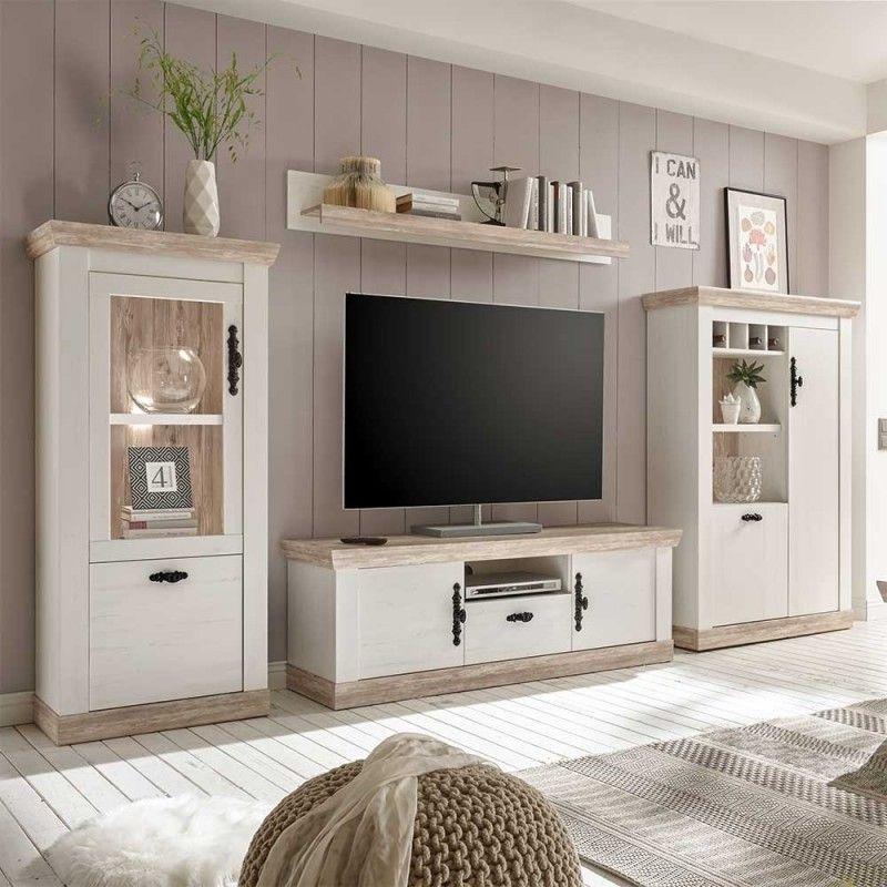 Photo of Parete attrezzata TV in stile country Scandi in decoro pino bianco e squallido – Nedita (4 parti)