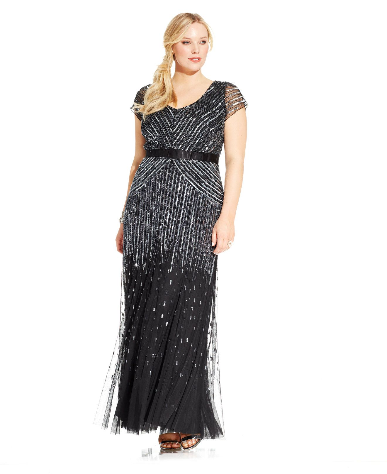 Adrianna papell plus size capsleeve beaded sequined gown dresses