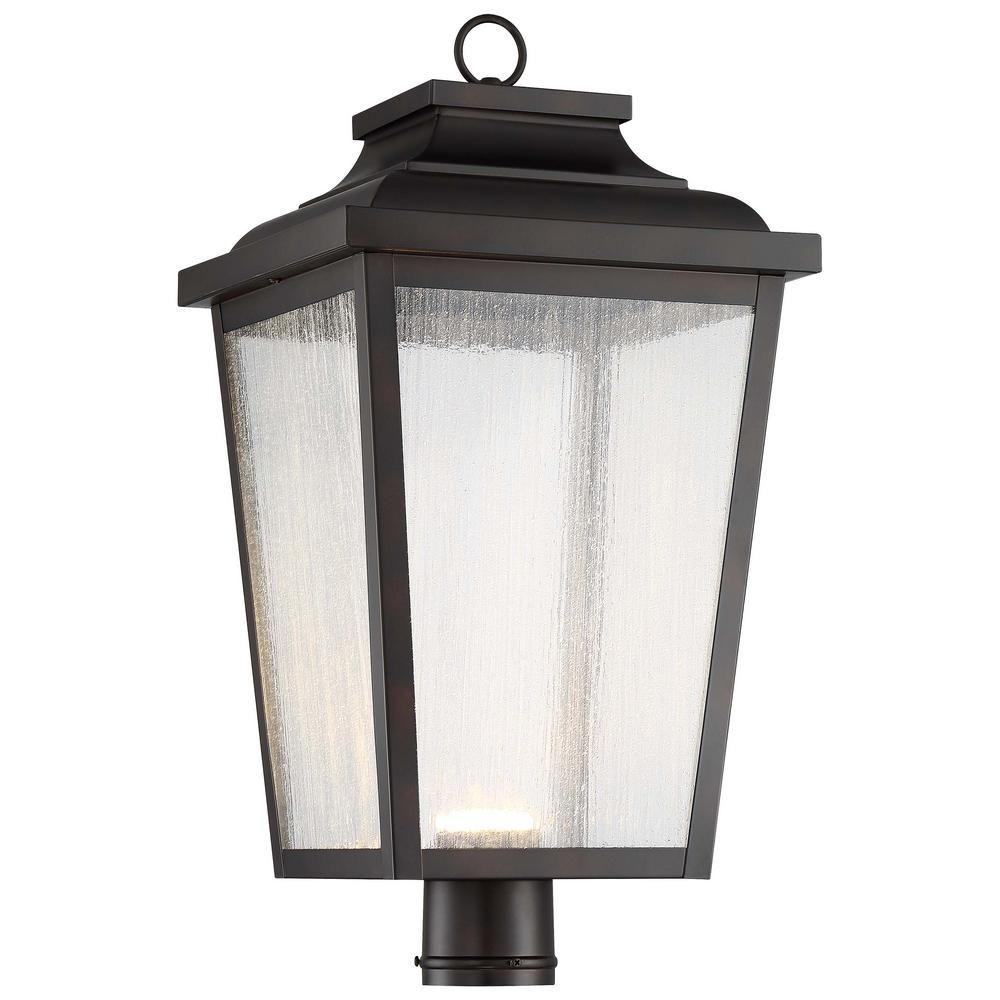 The Great Outdoors Irvington Manor 1 Light Outdoor Chelesa Bronze Integrated Led Post Light 72177 189 L Outdoor Post Lights Lantern Post Outdoor Lighting